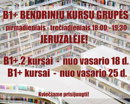 B1+ GENERAL ENGLISH COURSES IN JERUZALĖ FROM 02.18