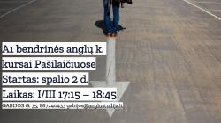 A1 BENDRINĖS ANGLŲ KALBOS KURSAI PAŠILAIČIUOSE NUO 10.02