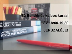 B2 GENERAL ENGLISH COURSES IN JERUZALĖ FROM 11.05
