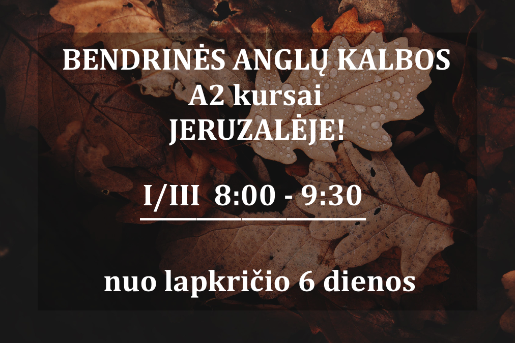 A2 GENERAL ENGLISH COURSE IN JERUZALĖ FROM 11.06