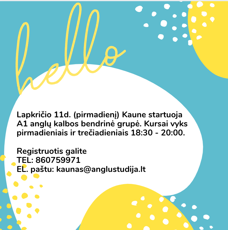 A1 GENERAL ENGLISH COURSES IN KAUNAS FROM 11.11