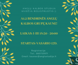 A1.2 GENERAL ENGLISH COURSE IN KAUNAS FROM 02.17