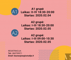 A2 GENERAL ENGLISH COURSE IN THE MORNING IN KAUNAS FROM 02.05
