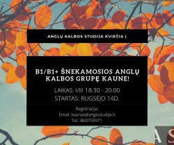 B1/B1+ SPOKEN ENGLISH COURSES IN KAUNAS FROM 09.14
