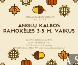 ENGLISH GROUP LESSONS FOR 3-5-YEAR-OLD CHILDREN IN KAUNAS FROM SEPTEMBER 19