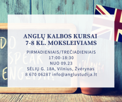 ENGLISH LESSONS FOR 7/8 GRADERS in Žvėrynas from 09.23